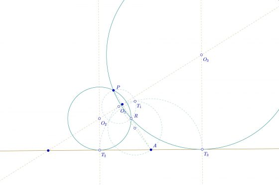 Circunferencias tangentes fuera de plano