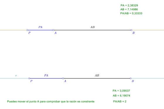 Series geometricas lineales - Razón simple de tres puntos
