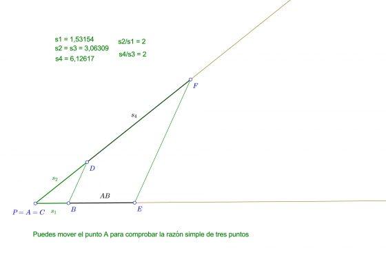 Teorema de Pitágoras - Razón simple de tres puntos