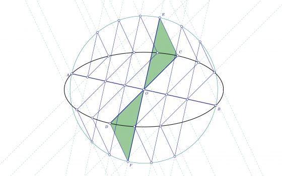 Construir la elipse conocidos dos diámetros conjugados mediante el método de los triángulos semejantes
