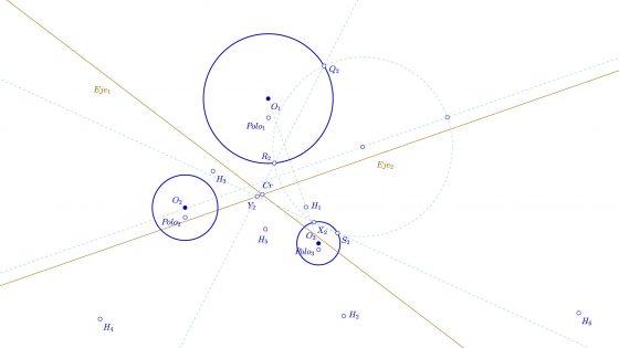 Problema de Apolinio - Centro radical de tres circunferencias
