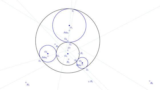 Problema de Apolonio, circunferencias tangentes a tres circunferencias