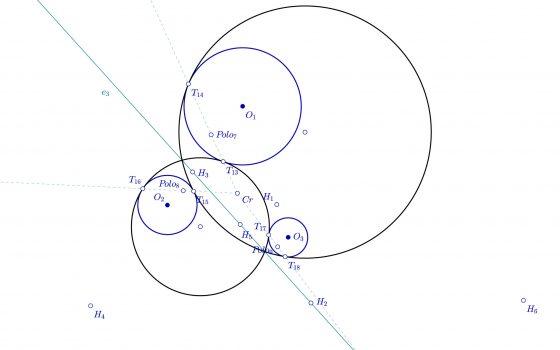 Circunferencias tangentes usando el eje polar