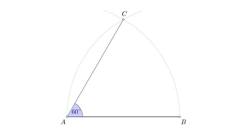Dibujar el ángulo de 60 grados con regla y compás