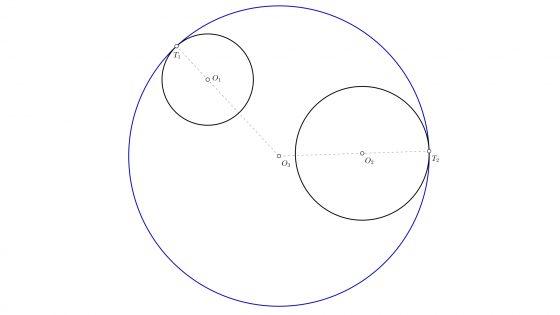 Circunferencia tangente a dos circunferencias conociendo los puntos de tangencia