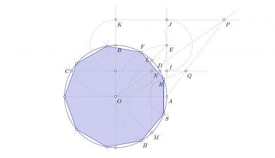 Construir el nonágono regular inscrito en una circunferencia