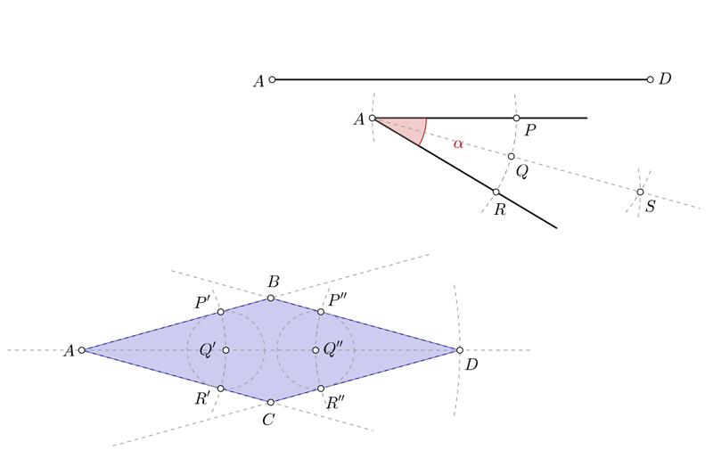 Dibujar un rombo conociendo una diagonal y un ángulo