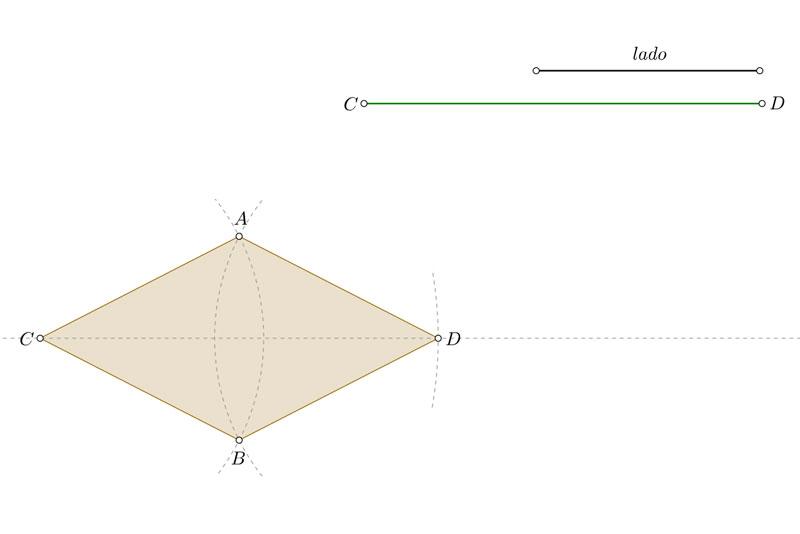 Construir un rombo conocidos el lado y una diagonal