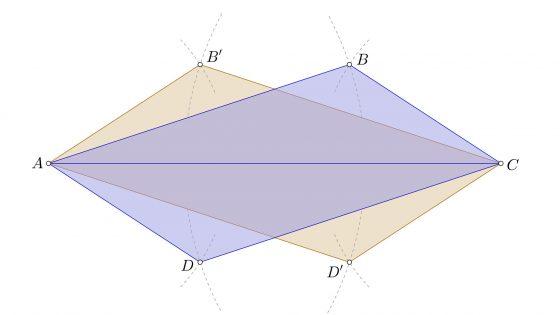 Construir un romboide conociendo sus lados y la diagonal