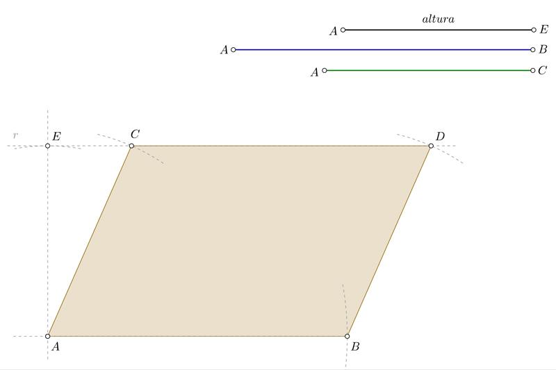 Dibujar un romboide conocidos los lados y la altura