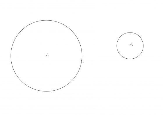 Circunferencia tangente a dos circunferencias conociendo un punto de tangencia