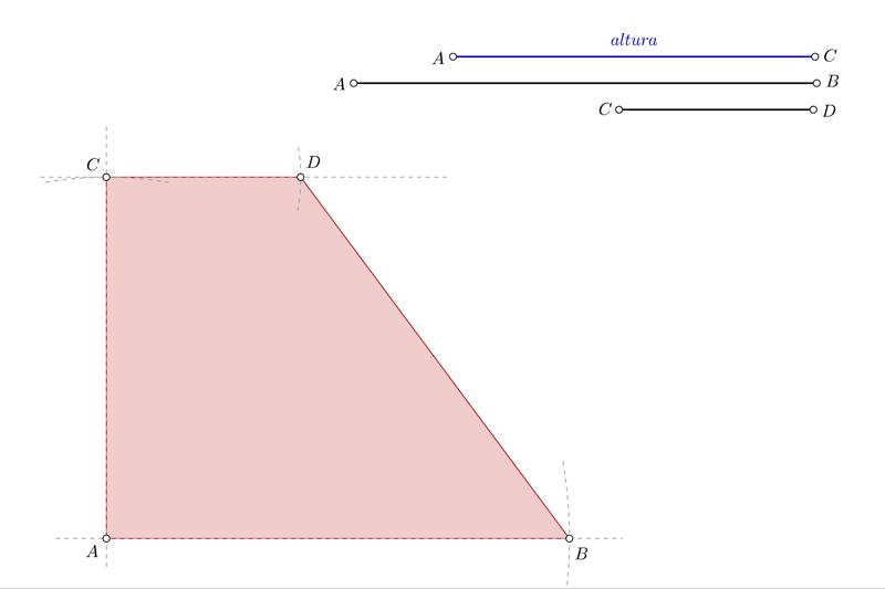 Dibujar un trapecio rectángulo conociendo su altura y las bases