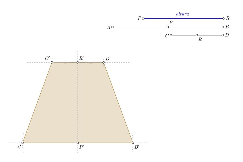 Dibujar un trapecio isósceles conociendo las bases y la altura