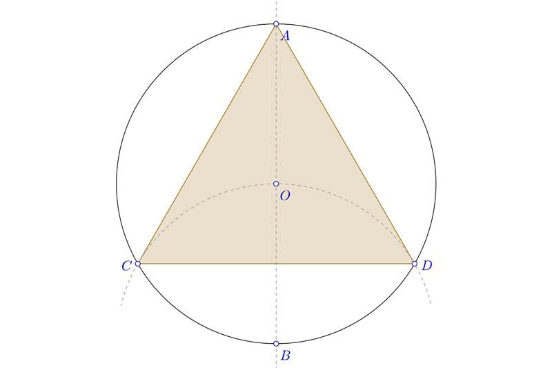 Dibujar un triángulo equilátero inscrito en una circunferencia