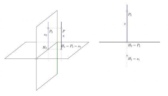 Recta vertical en diédrico, trazas y proyecciones