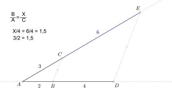 Hallar la cuarta proporcional de tres segmentos