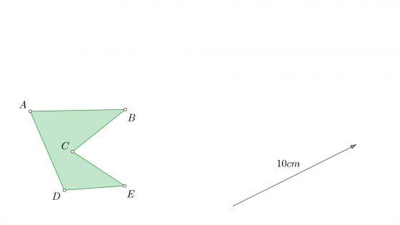 Concepto de traslación de figuras en dibujo técnico