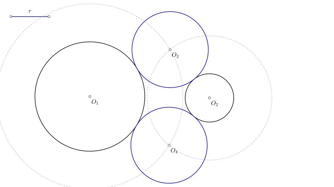 Circunferencias tangentes exteriores a dos circunferencias conocido el radio de la solución