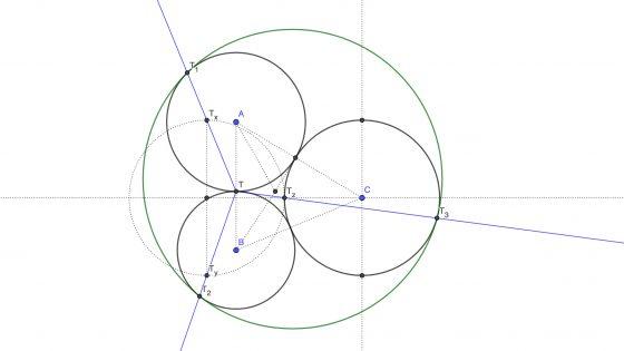 Circunferencia tangente a tres circunferencias tangentes entre si